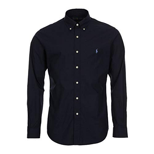 Polo ralph lauren long sleeve sport shirt camicia uomo slim fit-navy-l