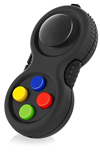 AMOYER Rubberized Classic Controller Game Pad Fidget Focus Toy with 8-Fidget Functions and Lanyard - Perfect for Relieving Stress