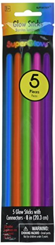 Amscan Groovy Neon Doodle Glow Sticks Birthday Party Favors (5 Pack), 8 , Multicolor (Glow In Supplies Party Birthday The Dark)