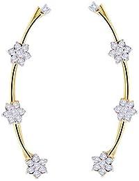 Zeneme Gold Plated American Diamond Ear Cuff Earring Jewellery For Women/Girls