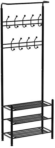 Homfa Gaderobe Garderobenständer Kleiderständer schuhregal 3 Ablagefächer Schuhablagen mit 18 Garderobenhaken 68.5x34x190cm