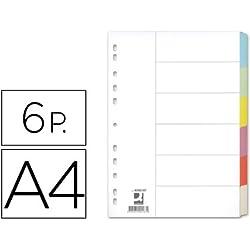 Q-Connect Separador Cartulina Juego De 6 Separadores Din A4 -Multitaladro