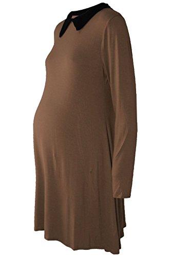 Janisramone Femmes de Dames Nouveau Plaine Peter Pan Contraste Col Maternité Patineur Évasé Balançoire Mini Robe Moka