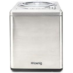 H.Koenig HF340 Turbine à glace verticale Machine à glace Sorbetière électrique 2L 180W - Fonction Réfrigération & maintien du froid-Préparation rapide-Compresseur - yaourt glacé,sorbet et crème glacée