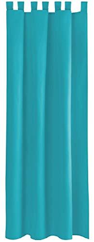 Bestlivings Blickdichte Türkise Gardine mit Schlaufen in 140x245 cm (BxL), in Vielen Größen und Farben