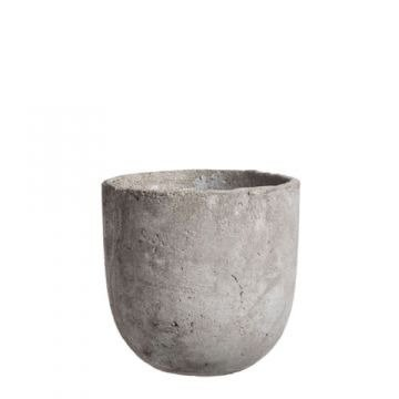 Edelman Blumentopf, Blumenkübel Keramik in Grau, Übertopftopf in Beton-Optik, Vase