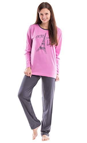 Moonline moderner und bequemer Damen Pyjama, mit weicher Baumwolle, rosa-Eiffelturm, Gr. L (44/46)