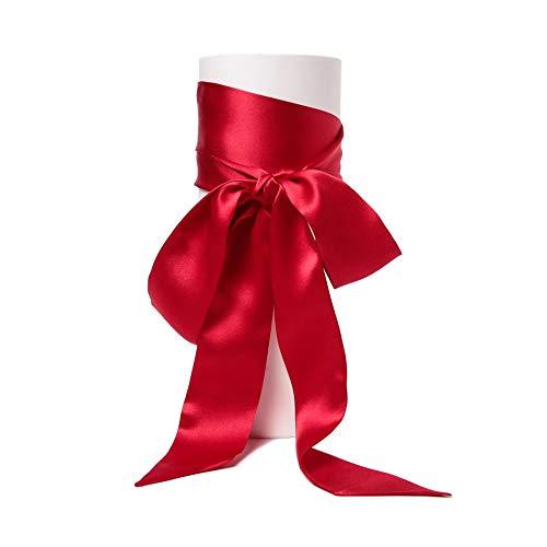 Satin-Schärpe Gürtel Damen Hochzeit Bogen Band Schal Krawatte (Rot) (Schärpe Rote Gürtel)