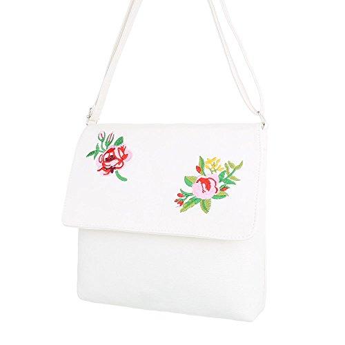 iTal-dEsiGn Damentasche Mittelgroße Schultertasche Umhängetasche Kunstleder TA-290317 Weiß