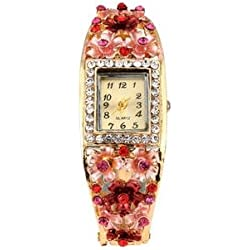 Kitcone Jwellery Bracelet Style Diamond Studded Multi - Colour Women's Watch -Type 205