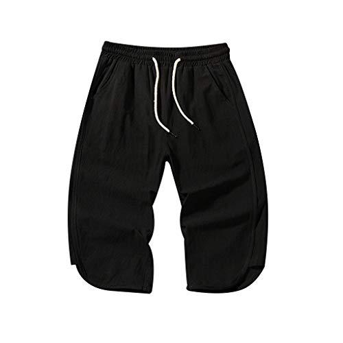 Xmiral Shorts Calf-Length Hose Herren Elastische Taille Mit Kordelzug Einfarbig Strassenmode Badehose Strandhosen Sporthose Lässig Große Größe(Schwarz,XXL) Playboy Shorts