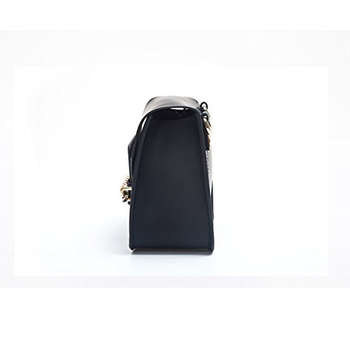 Donna Genuine Leather Retro Mini Singola Spalla Crossbody Bag Box Frizione. Black