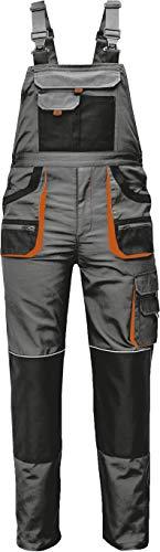 Stenso Des-Emerton® - Pantalones con Peto de Trabajo para Hombre - Gris/Negro/Naranja - 48
