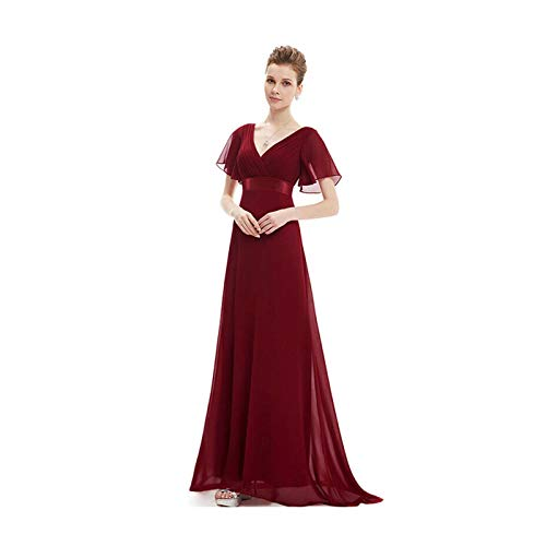 Ever-Pretty Plus Size Double V-Neck Evening Gowns Long Bridesmaid Cocktail Dress Burgundy 10 Womens New Black Bow Tie
