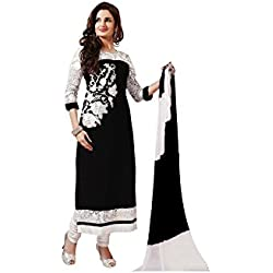 Varibha® Women's Black & White Wear Georgette Suit Dress Material | Best Deal Of The Day | Best Offer Of The Day | diwali offers for women dresses | diwali offers for women dresses | diwali offer 2017 | today best offers
