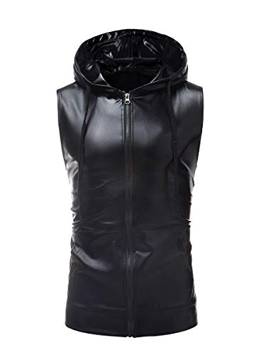 CuteRose Mens Vests Vogue Pocket Waistcoat Metallic Sweatshirt Hoodies Black L -
