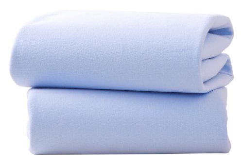 Clair de Lune Bettlaken Baumwolle Jersey Spannbettlaken für Kinderbett Blatt (2Stück, blau) (Blau Kinderbett Jersey Blatt)