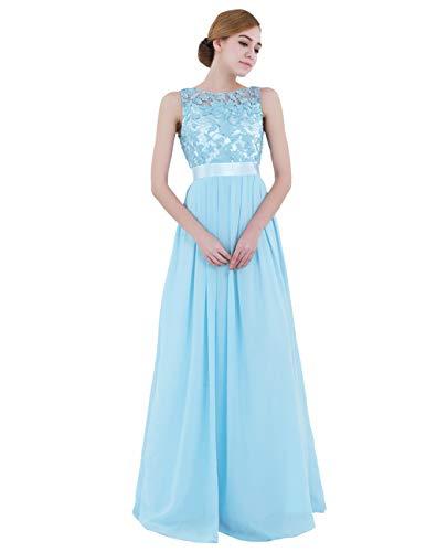 iiniim Mujer Vestido Largo Floreado de Fiesta Boda Dama de Honor de Novia Elegente Vestido Vintage Retro Encaje Traje de Gasa para Mujeres Varias Tallas Azul de Cielo 38