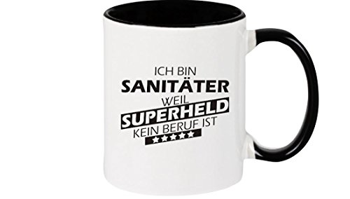 Shirtstown Kaffeepott beidseitig mit Motiv bedruckt Ich bin Sanitäter, weil Superheld kein Beruf...
