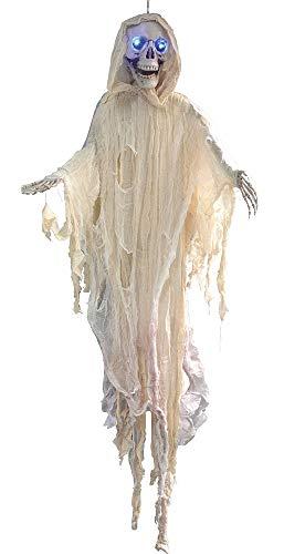Das Kostümland Weißer Todesgeist Skelett mit Leuchtaugen - 150 cm - Gruselige Halloween Geister Party Dekoration