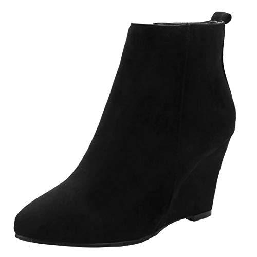 AIYOUMEI Damen Samt Wedge Ankle Boots High Heels Keilabsatz Stiefeletten mit Absatz 8cm Bequem Keilstiefel Winter Warm -