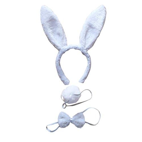Set mit Haarreif Fliege Schwanz für Kinder Erwachsene Party Cosplay Weihnachten Kostüm 3 Stücke (Weiß) (Kinder Kostüm Set)