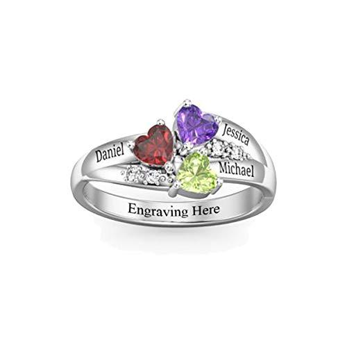 HooAMI Silber Personalisierte Ring Unisex Eheringe Familieringe Geburtsstein Ringe Mit 3 Wunschnamen Herz Geburtsstein #5/#6/#7/#8