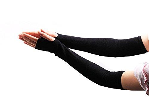 Algodón elástico sin dedos guantes de brazo elástico manga de invierno larga para mujer mujeres chica negro mejor regalo de Navidad
