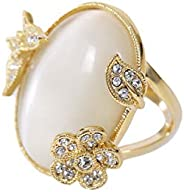 MOONSTONE Women's Fashion Ring Classic Oval Shaped Flower-Leaf-Butterfly, Ladies Jew