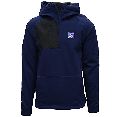 Levelwear NHL New York Rangers Mens Vanquist Insignia Mens Hooded Pullover, Navy/Charcoal, Medium -
