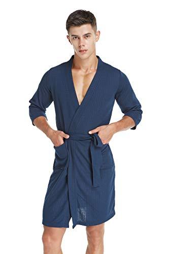 Spa Robe (für Herren Kimono Bademantel Schlafkleid Schlafanzug Waffel Weben Weiche Hotel Spa Robe Leichter Morgenmantel, 3/4 Ärmel Knielänge XL)