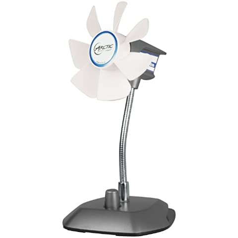 ARCTIC Breeze (Plata) - Ventilador de escritorio USB con velocidad regulable y cuello flexible