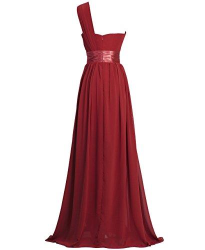FAIRY COUPLE Robe de Soirée Une Epaule en Mousseline de Soie Simple et Elegante D0126 Rouge Vineux