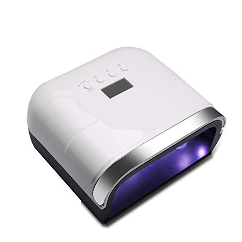 48W Nail Light - Machine de photothérapie à séchage rapide, machine à ongles à induction double source intelligente, lampe LED pour lampe à ongles en gel,White