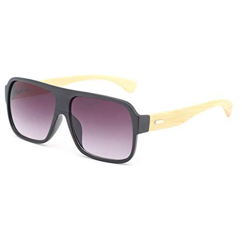 MWPO Retro Square Bamboo Wood Unisex Fashion Fahrbrille mit farbigen Gläsern Polarisierte Brille (Farbe: Black Frame Purple Lens)