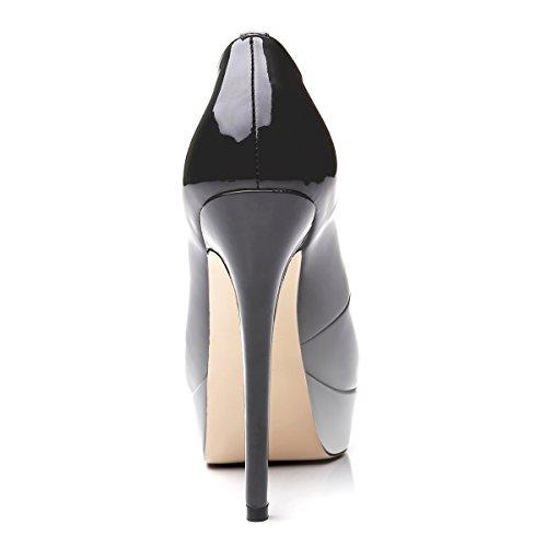 uBeauty - Scarpe da Donna - Scarpe col Tacco - Scarpe con plateau - Scarpe peep toe Gradiente grigio