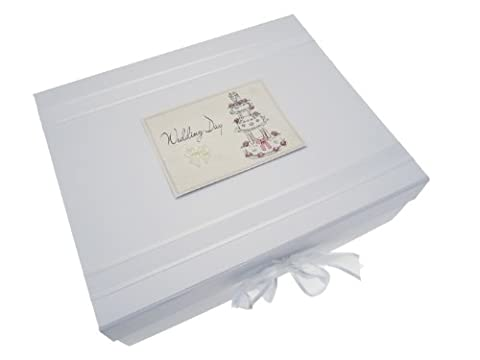 White Cotton Cards Boîte souvenir Wedding Day Grand Cake Design