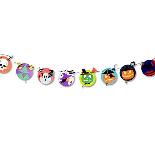 3M Halloween Wimpelkette Flaggen - Kürbis Fledermaus Totenkopf zum Aufhängen, für Zuhause, Schule, Büro, Party-Dekoration about 3m Pattern6