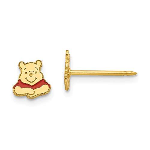 Hermosos pendientes de oro amarillo de 14 quilates con diseño de Winnie The Pooh de Disney de 14 quilates, vienen con un regalo de joyería gratis