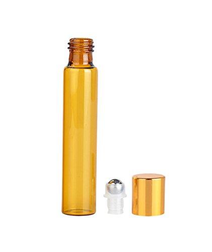 furnido 10PCS tragbar leer Duft Cosmetics Parfüm ätherischen Ölen Roller Flaschen Bernstein Glas Rolle auf Flaschen mit Edelstahl Roller Kugeln gold Aluminium Kappen für Reise Haushalt Urlaub