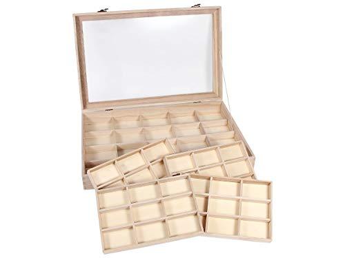 Alsino Setzkasten Sammler-Box aus Holz mit Glasscheibe Sortierbox für Figuren Schmuck Mineralien und Sammlerschätze, SK-23 45cm-30cm-7cm