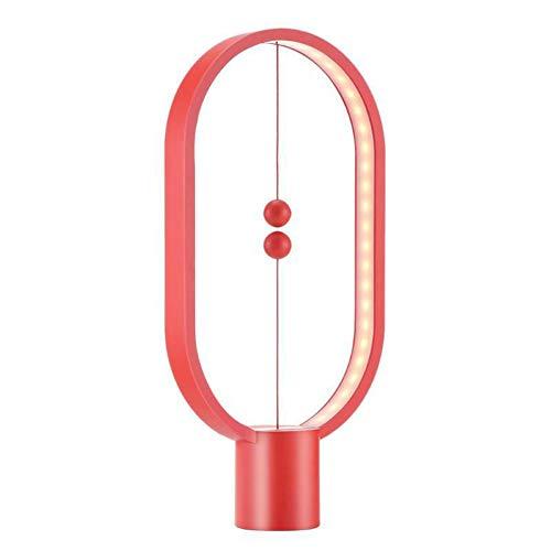 Ulighting LED-Tischlampe, Ellipse Magnetic Mid-Air-Schalter USB-Tischlampe mit Nachttisch, warme Augenpflege-Lampe, Nachtlicht, Dekoration für Schlafzimmer, Wohnzimmer, Büro,red
