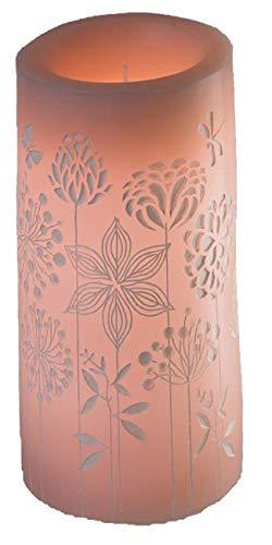 dekojohnson LED Echtwachs Kerze Rosa 8x10cm Blumen-Kerze mit beweglicher Flamme Warm-Weiß Timer-Funktion Deko-Idee