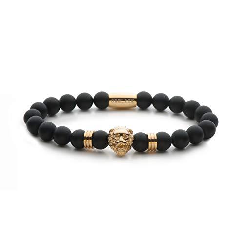 Obelizk Exklusiv Lion Armband für Männer Gold| Löwenkopf Bracelet mit schwarzen Onyx Perlen|Geschenk Schmuckbox+ Luxury Accessories Guide