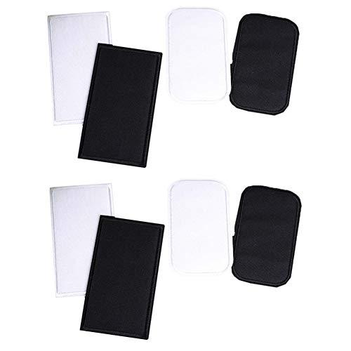 Toppe termoadesive per tessuti di alta qualità, colore bianco e nero, 8 pezzi