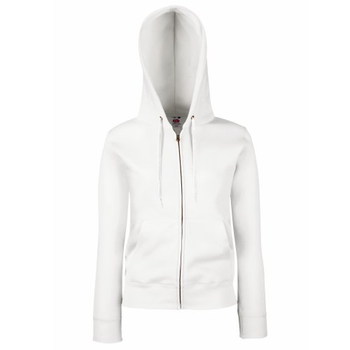 Fruit Of The Loom Lady-Fit Damen Sweatshirt Jacke mit Kapuze (M) (weiß) M,Weiß