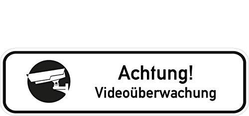Schwarz Und Weiß-video-kamera (Kinekt3d Leitsysteme Video Überwachung Aufkleber Video Kamera videoüberwacht Alarm Türaufkleber Türschild PVC 180mm x 50mm Weiß/Schwarz selbstklebend)