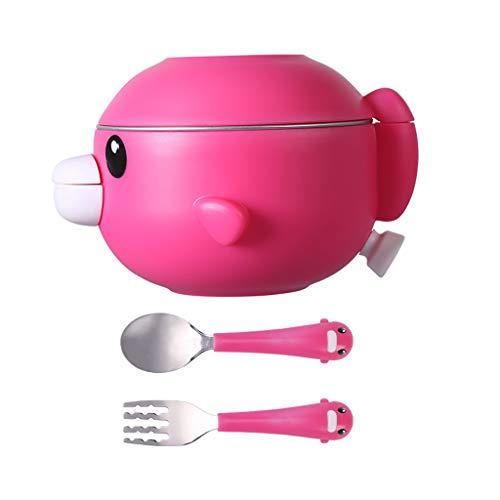 Love lamp Set De Couverts pour Enfants Bol Isotherme À Injection d'eau pour Bébé Bol À Nourriture en Acier Inoxydable Incassable (Color : Pink)