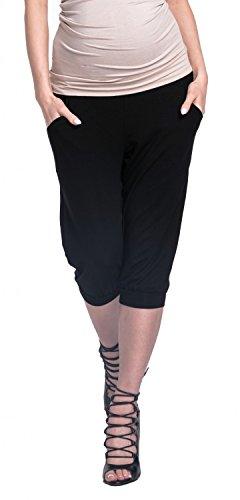 Happy Mama. Femme Grossesse Elastique Taille Pantalons avec Poches. 665p Noir