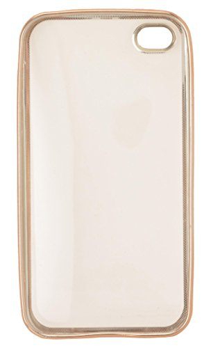 AaroGlobal Luxury Soft TPU Clear GOLD Case Silicon Gel Back Cover Full Cover Shockproof Durable Cover for Apple Iphone 4  available at amazon for Rs.124